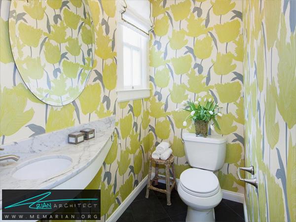 دکوراسیون حمام با کاغذ دیواری گل های زرد -دکوراسیون حمام 2018