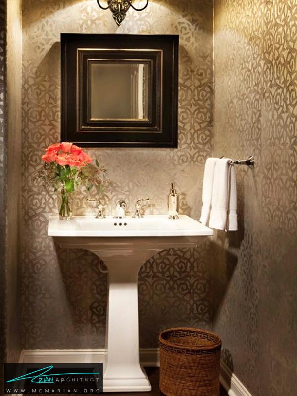 حمام سنتی با تصویر زمینه الگو -تزیین دکوراسیون حمام