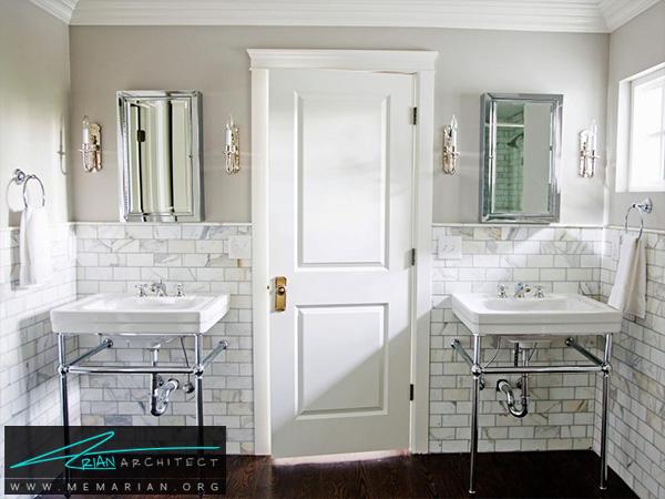 حمام جذاب و کاربردی با دیوار مرمر -تزیین دکوراسیون حمام