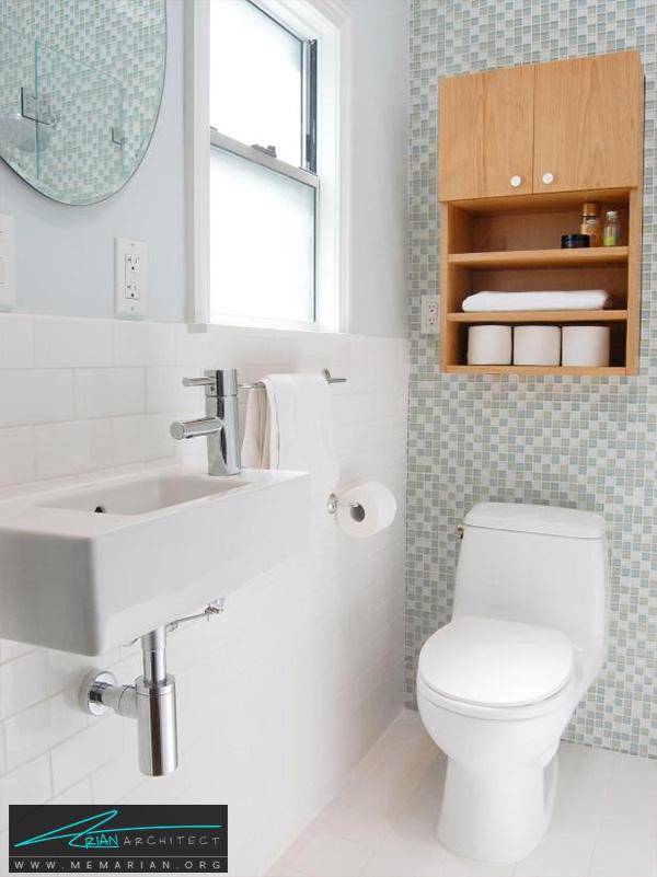 حمام کوچک با کاشی موزائیک -تزیین دکوراسیون حمام