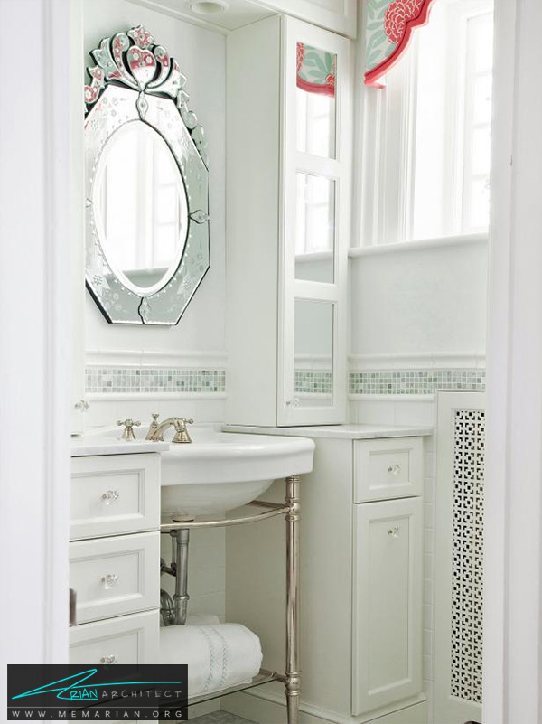 تزیین دکوراسیون حمام با ملزومات سفید رنگ -تزیین دکوراسیون حمام
