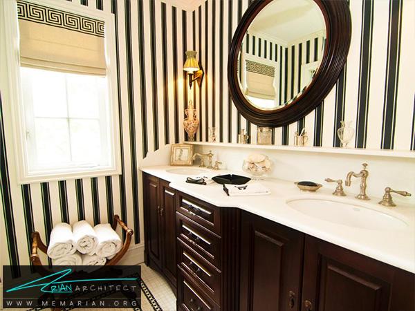 حمام مدرن در رنگ مشکی و قهوه ای تیره -تزیین دکوراسیون حمام