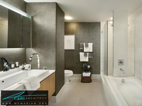 حمام مدرن با کاغذ دیواری خاکستری و سینک ظرفشویی -تزیین دکوراسیون حمام