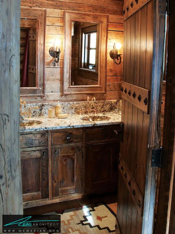 حمام چوبی کلاسیک و فوق العاده -تزیین دکوراسیون حمام
