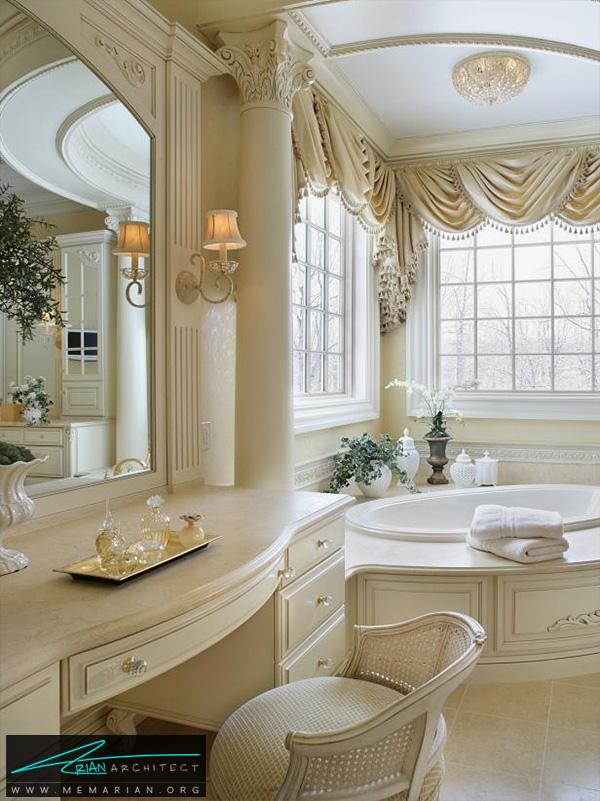 حمام لوکس و مدرن با ستون های تجملاتی -دکوراسیون حمام لاکچری