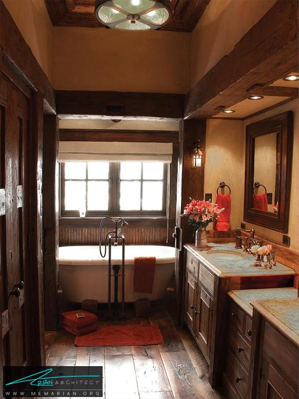 حمام کلاسیک با عناصر چوبی و قهوه ای -دکوراسیون حمام لاکچری
