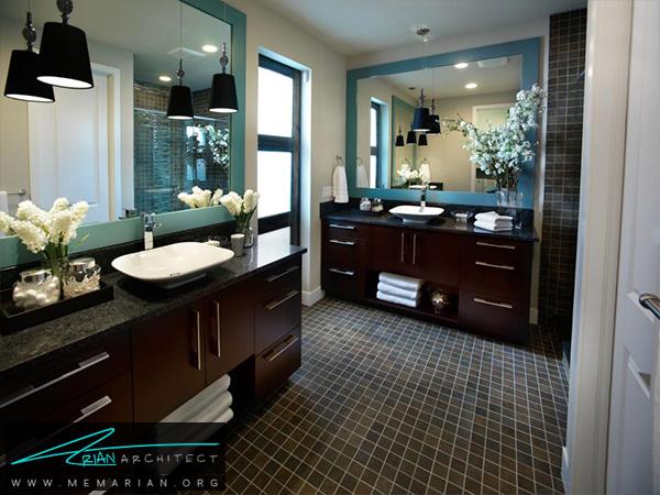 دکوراسیون تیره برای حمام با کفپوش چهارخانه -دکوراسیون حمام لاکچری