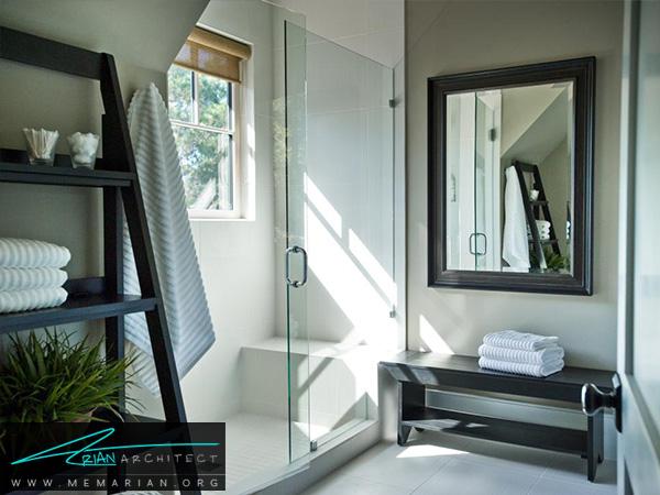 حمام ساده و شیک با چیدمان کاربردی -دکوراسیون حمام لاکچری