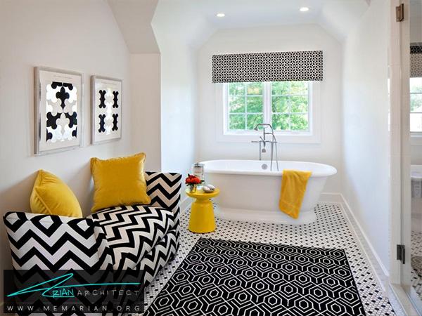 حمام سیاه و سفید با تزئینات زرد -دکوراسیون حمام لاکچری