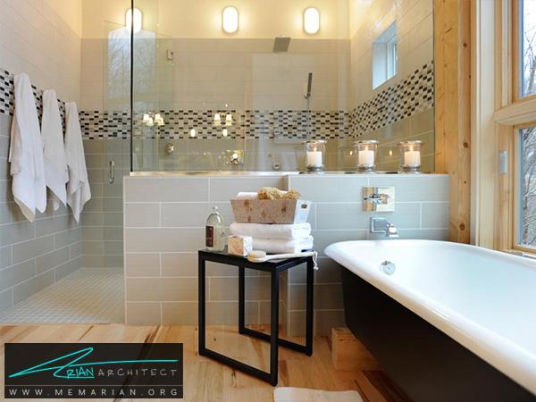 ترکیب رنگ آبی روشن با خاکستری در حمام -دکوراسیون حمام لاکچری