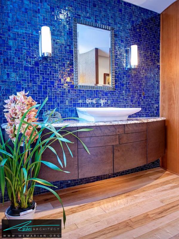 حمام لوکس با کاشی موزاییک آبی -دکوراسیون حمام لاکچری