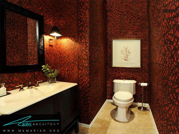 حمام قرمز مدرن با کاغذ دیواری جذاب -دکوراسیون حمام لاکچری