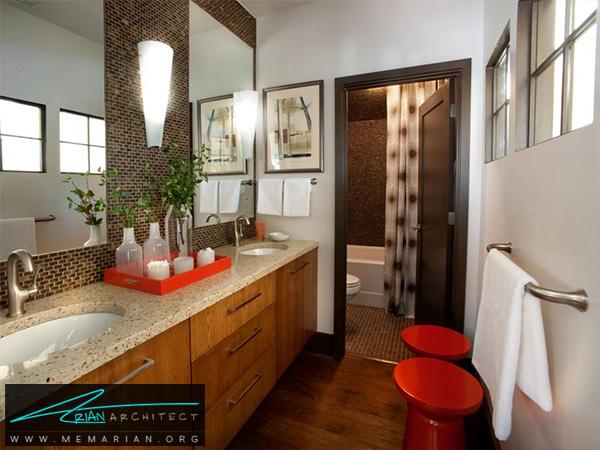 حمام مدرن و کلاسیک با عناصر زیبا -دکوراسیون حمام لاکچری