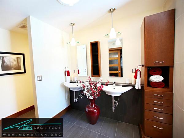 حمام معاصر با سینک دو طرفه نصب شده -دکوراسیون حمام لاکچری