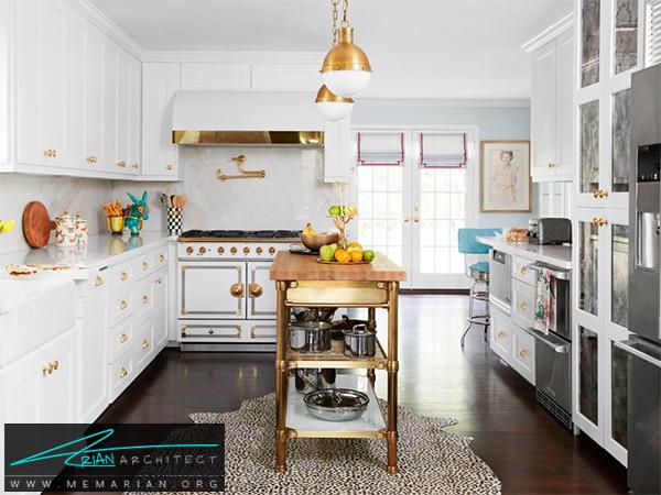 آشپزخانه لوکس با دکوراسیون سفید -دکوراسیون آشپزخانه لوکس