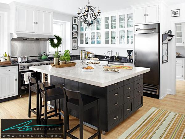 آشپزخانه ای با دکوراسیون کلاسیک -دکوراسیون آشپزخانه لوکس