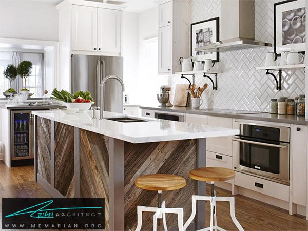 آشپزخانه جذاب با میز جزیره چوبی متفاوت -دکوراسیون آشپزخانه لوکس