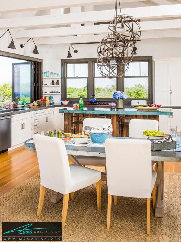 آشپزخانه دلنشین با میز غذاخوری جزیره -دکوراسیون آشپزخانه لوکس