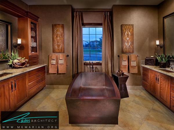 حمام سنتی با زمینه قهوه ای -دکوراسیون حمام مدرن