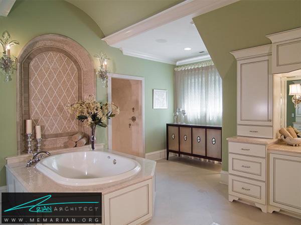 دکوراسیون حمام در رنگ سبز و صورتی -دکوراسیون حمام مدرن