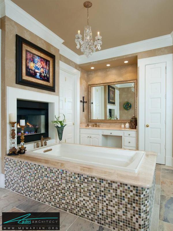 حمام مدرن با شومینه و تابلو دیواری -دکوراسیون حمام مدرن