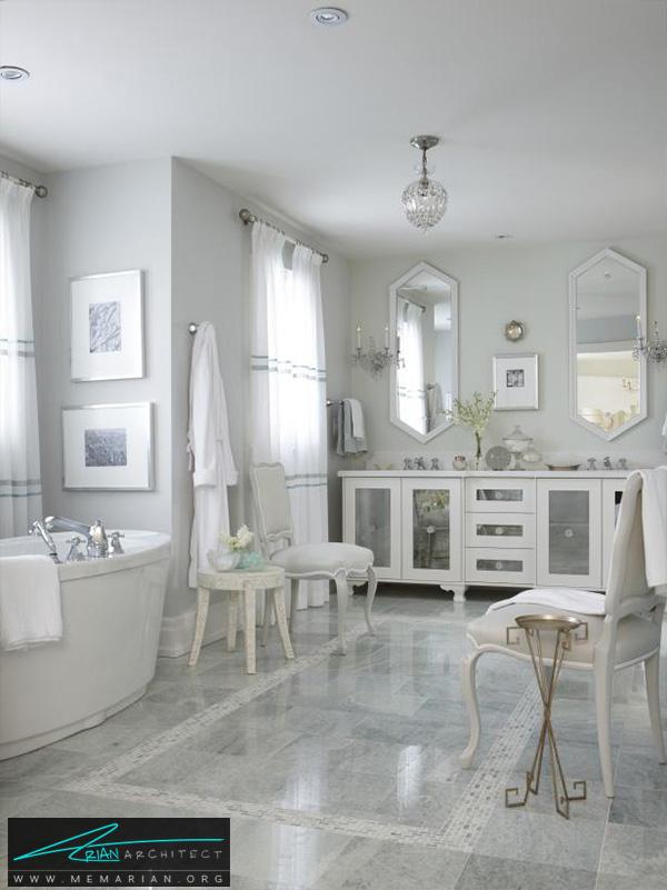 دکوراسیون حمام مدرن با آینه های شش ضلعی -دکوراسیون حمام مدرن
