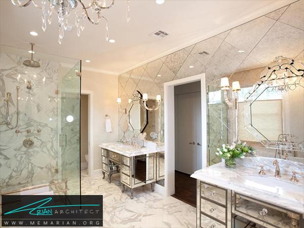 دکوراسیون حمام شیک و ظریف با سنگ مرمر -دکوراسیون حمام مدرن