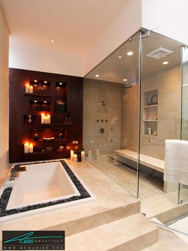 حمام با سبک آسیایی با تانک غرق شده -دکوراسیون حمام مدرن