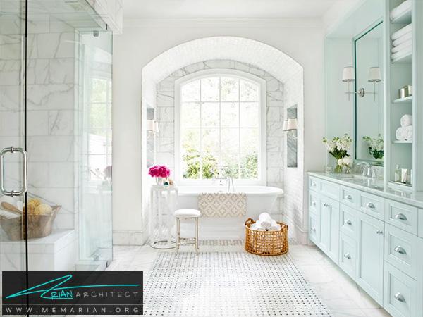 طراحی حمام مدرن با استفاده از سنگ مرمر و گرانیت سیاه -دکوراسیون حمام مدرن