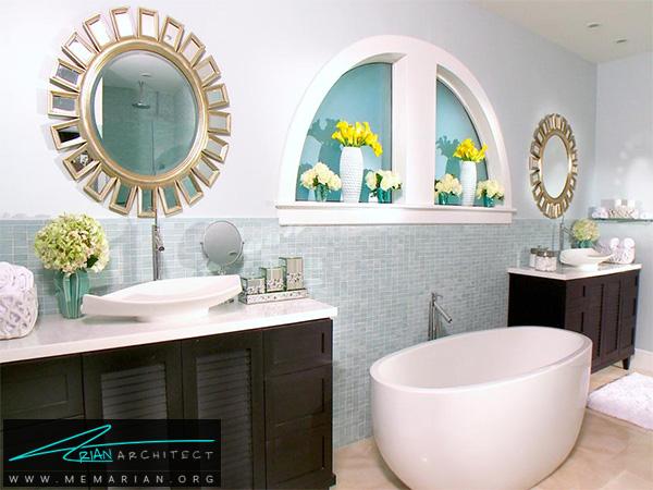 دکوراسیون آبی فیروزه ای و مدرن برای حمام -دکوراسیون حمام مدرن