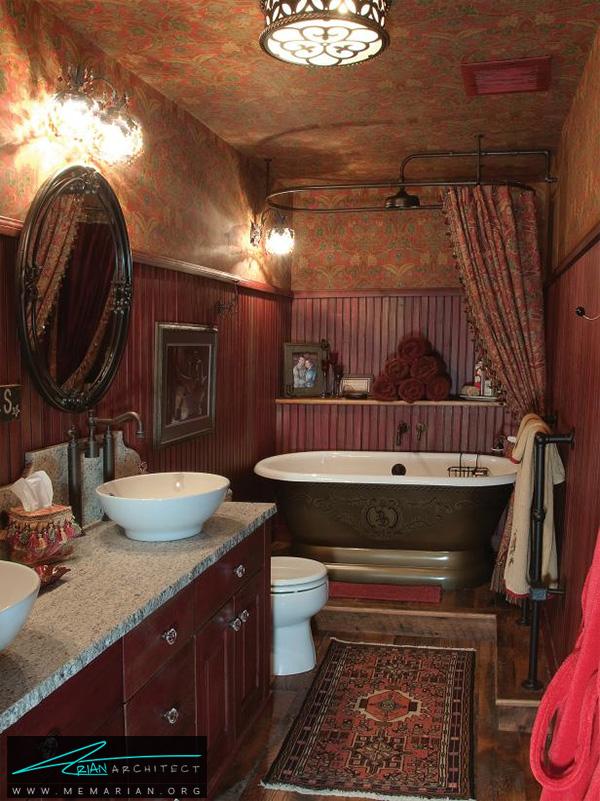 حمام کلاسیک با استفاده از ملزومات قدیمی و سنتی -دکوراسیون حمام مدرن