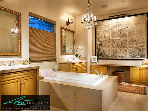 دکوراسیون حمام گرم و صمیمی مدرن -دکوراسیون حمام مدرن