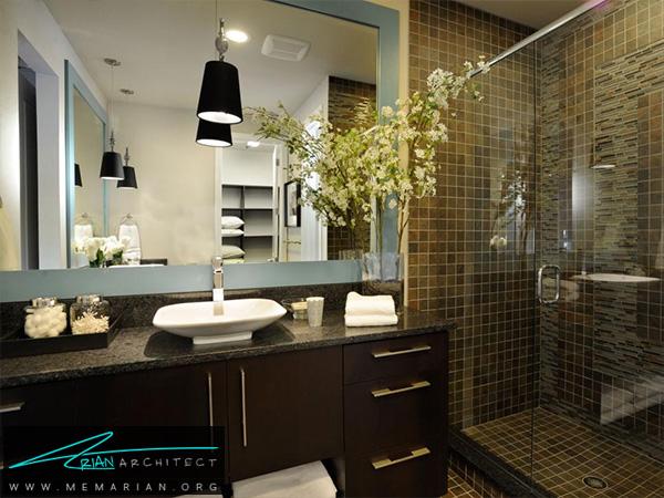 حمام مدرن با رنگ بندی تیره -دکوراسیون حمام مدرن