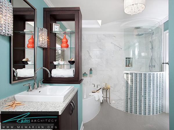 حمام جذاب با رنگ بندی آبی سفید -دکوراسیون حمام مدرن