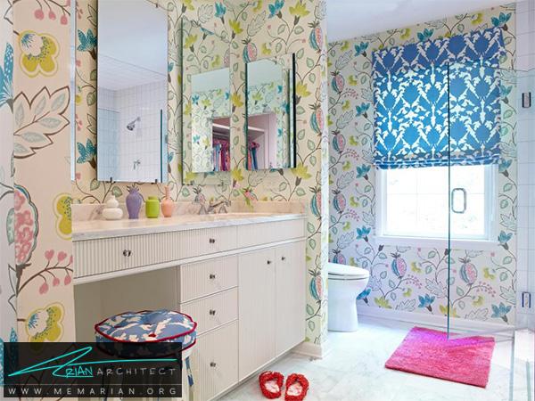 دکوراسیون حمام دخترانه گلدار رنگارنگ -دکوراسیون حمام لوکس و جدید