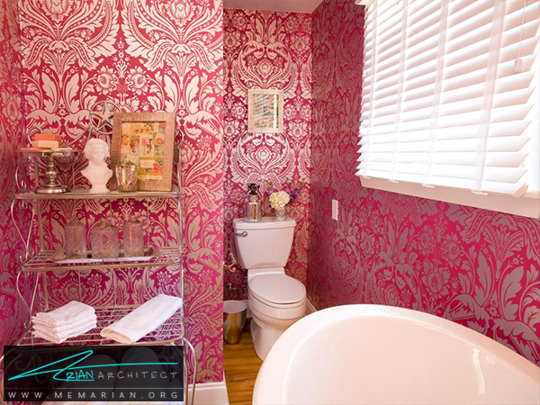 حمام کوچک ویکتوریا صورتی -دکوراسیون حمام لوکس و جدید