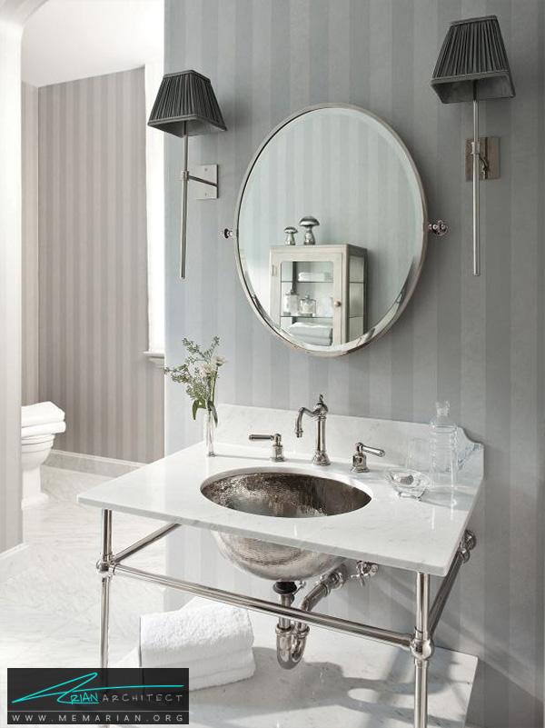 حمام خاکستری ایده آل با سنگ مرمر و سینک نقره ای -دکوراسیون حمام لوکس و جدید