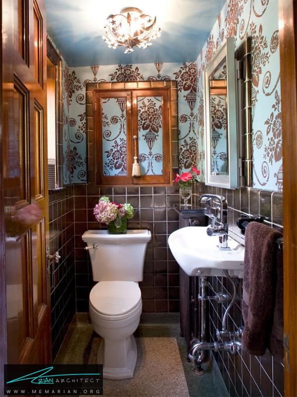 حمام سنتی با کاغذ دیواری قهوه ای و آبی -دکوراسیون حمام لوکس و جدید