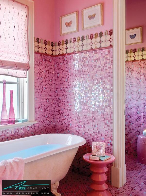حمام دخترانه با کاشی موزائیک صورتی -دکوراسیون حمام لوکس و جدید