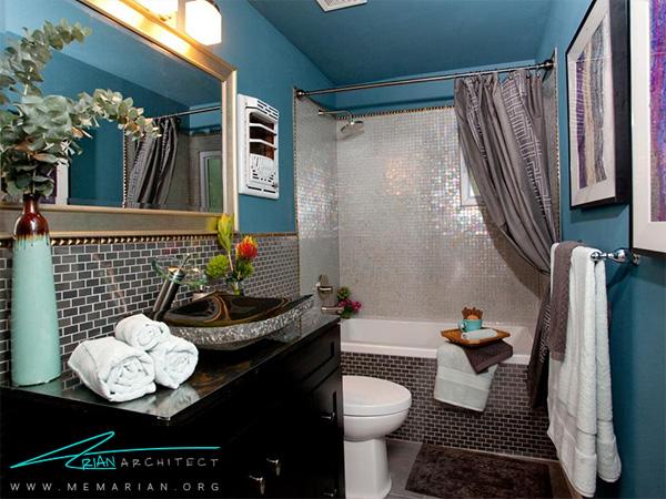دکوراسیون حمام با آینه های رنگی و دیوار گرانیت سیاه -دکوراسیون حمام لوکس و جدید