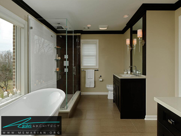 حمام بزرگ با آینه های دوگانه -دکوراسیون حمام لوکس و جدید