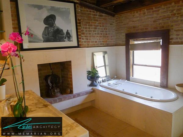 حمام روستایی با دیوار های آجری -دکوراسیون حمام لوکس و جدید