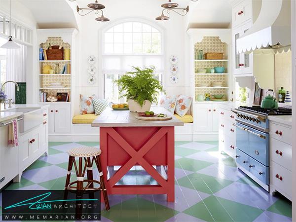 آشپزخانه مدرن با ترکیب رنگ فانتزی -دکوراسیون آشپزخانه شیک