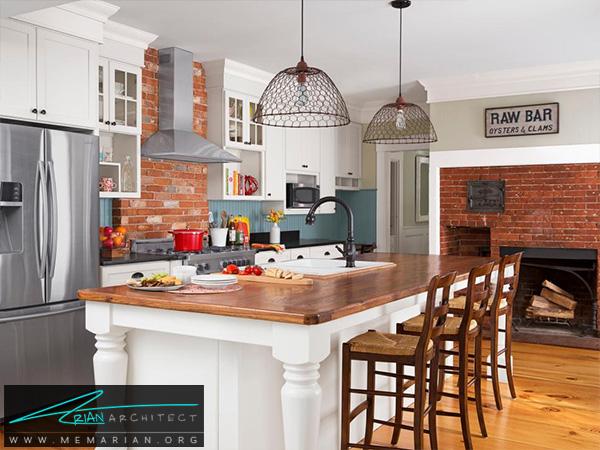 آشپزخانه مجلل با عناصر قدیمی و کلاسیک -دکوراسیون آشپزخانه شیک