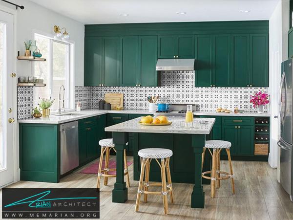 یک فضای رنگارنگ دردکوراسیون آشپزخانه شیک -دکوراسیون آشپزخانه شیک