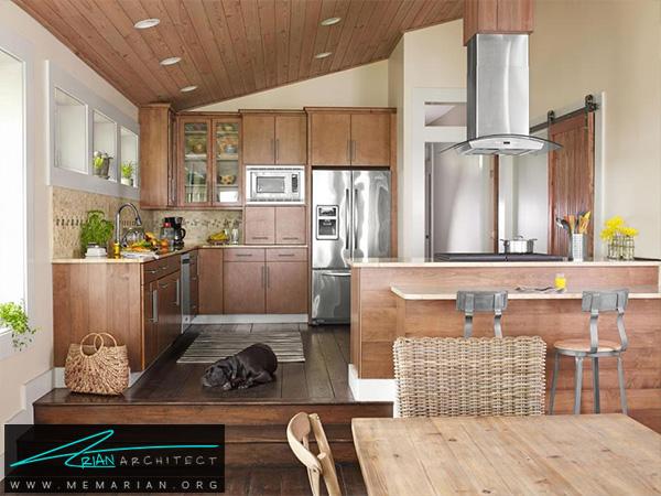 آشپزخانه با دکوراسیون چوبی -دکوراسیون آشپزخانه شیک
