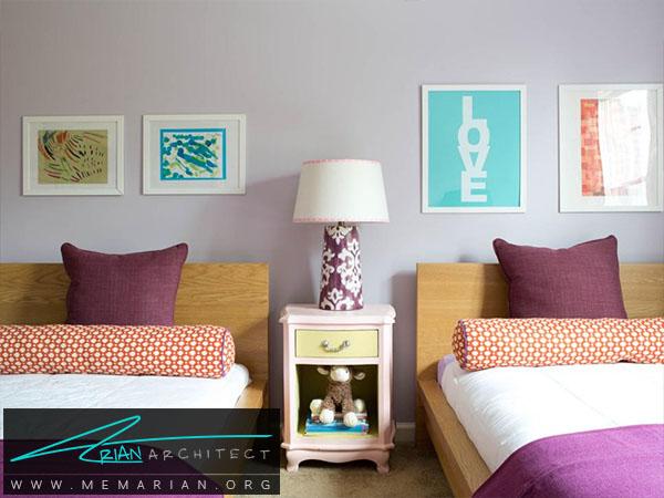 ترکیب رنگ بنفش و نارنجی -ترکیب رنگ اتاق
