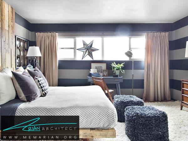 خط افقی در اتاق خواب -ترکیب رنگ اتاق