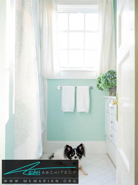 احساس پاکیزگی در حمام با استفاده از رنگ ها -ترکیب رنگ اتاق