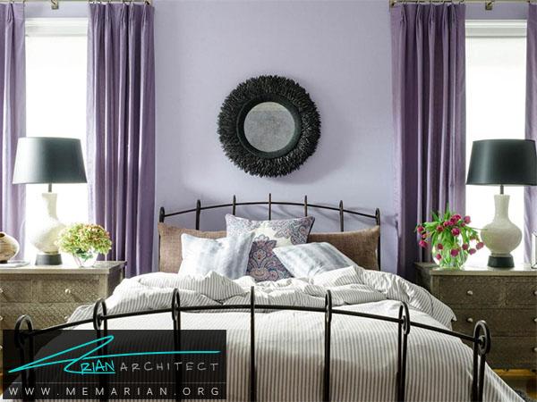 طیف رنگی بنفش در اتاق خواب -ترکیب رنگ اتاق